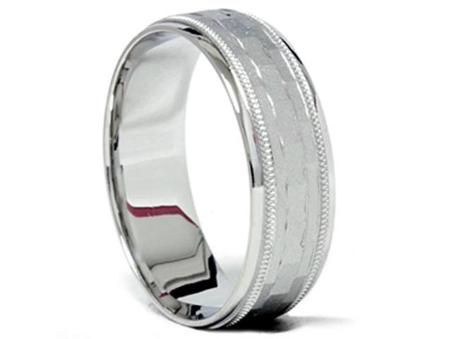 Mens 14K White Gold 7mm Textured Comfort Wedding Band