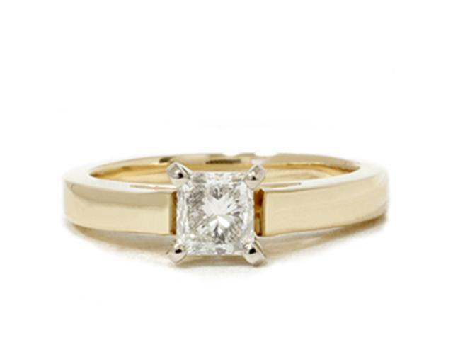 1ct Diamond Solitaire Cathedral Ring Solid14K Yellow Gold