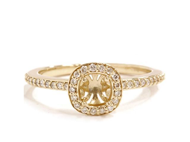 1/4 Ct Diamond Halo Engagement Ring Semi Mount 14K Yellow Gold
