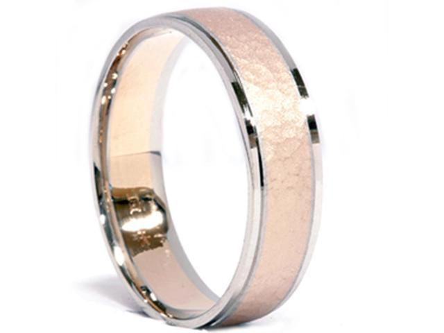 Mens 14K Gold 2 Tone Hammered Comfort Fit Wedding Band