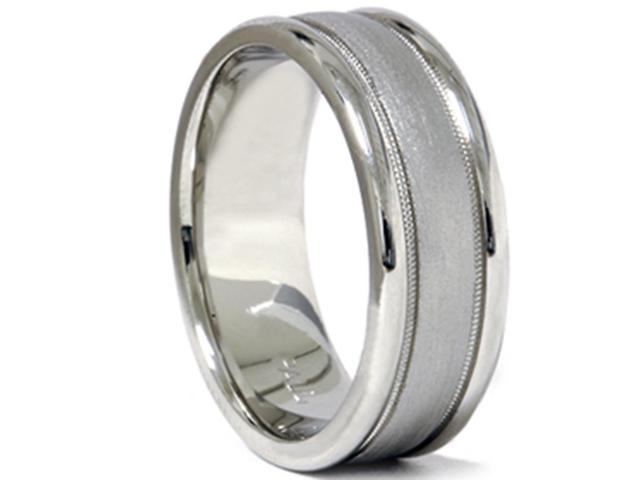 Brushed Milgrain Wedding Band 950 Palladium