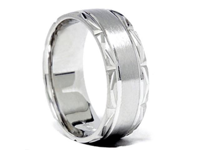 Brushed Wedding Band 14K White Gold