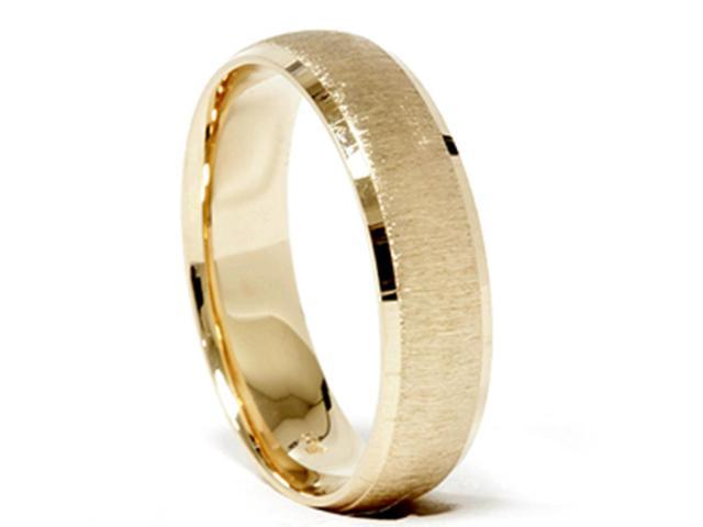 Mens 14k Yellow Gold Wedding Ring Brushed Band New
