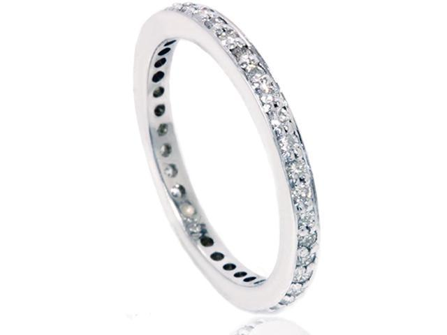 3/8ct Pave 3/4ct Diamond Eternity Ring 14K White Gold