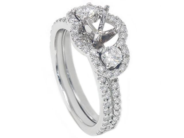 1 1/10ct 3 Stone Diamond Engagement Ring Setting Bridal Set