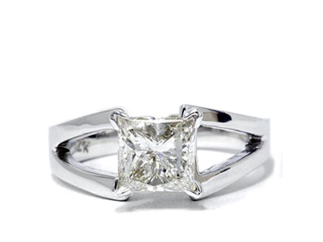 1ct Princess Cut Solitaire Enhanced Diamond Ring 14K White Gold