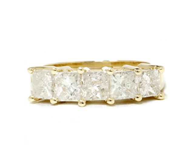 2ct HUGE Princess Cut Diamond Anniversary Gold Ring