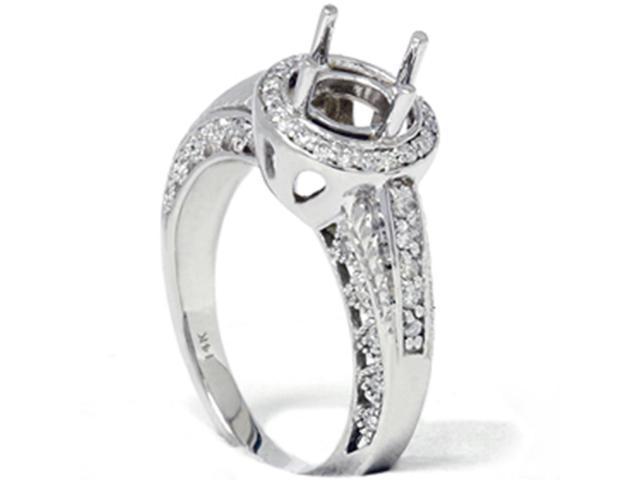 1/2ct Antique Vindtage Diamond Engagement Ring Semi Mount White Gold