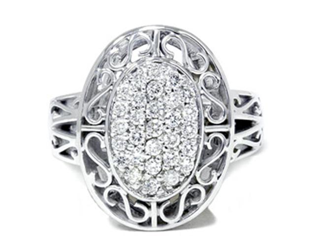 Vintage 3/4ct Large Pave Real Diamond White Gold Ring