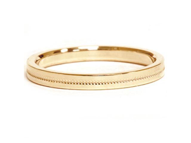 14K Yellow Gold 2mm Milgrain Wedding Comfort Ring Band