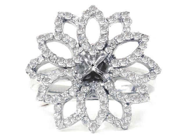 3/4ct Diamond Flower Ring Setting 14K White Gold Engagement Semi Mount