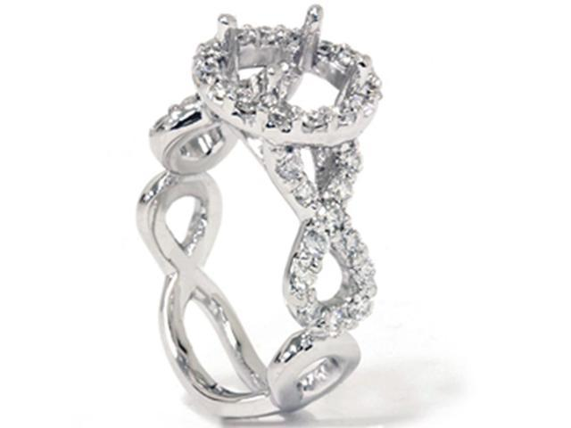 3/4ct Fancy Diamond Semi Mount Engagement Ring 14K White Gold