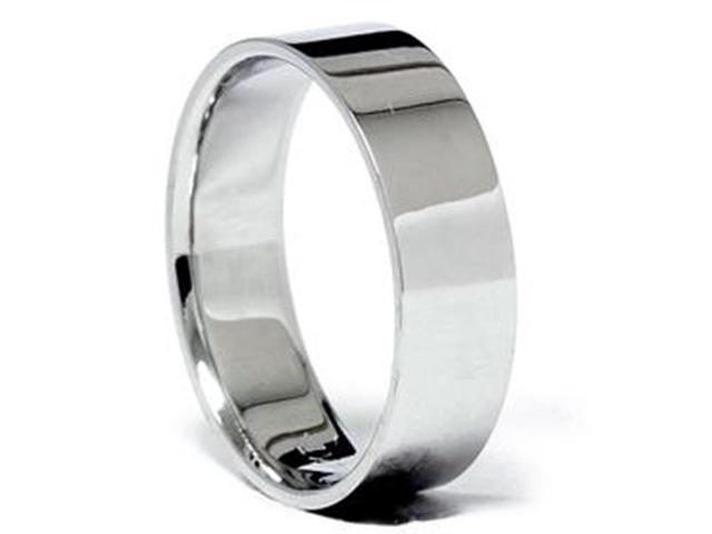 Men's Flat High Polished Wedding Band Ring 18K White Gold