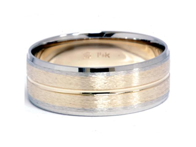 Channel Brushed Wedding Band 14K Gold