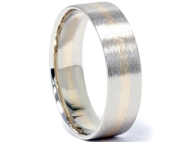 Brushed Two Tone Wedding Band 14K Gold