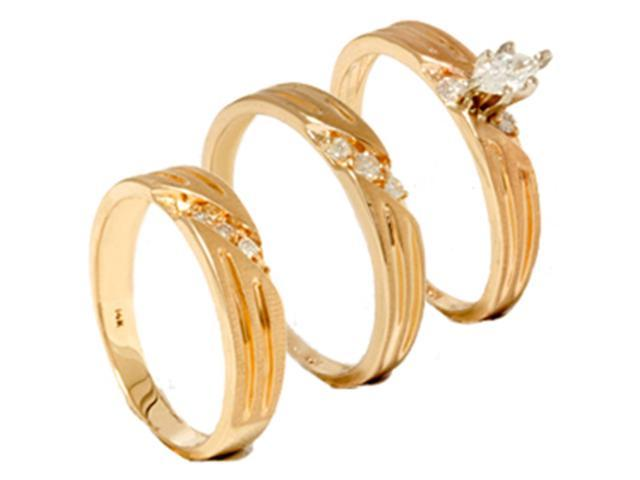 1/4ct Diamond Matching Trio Wedding Ring Set 14K Gold