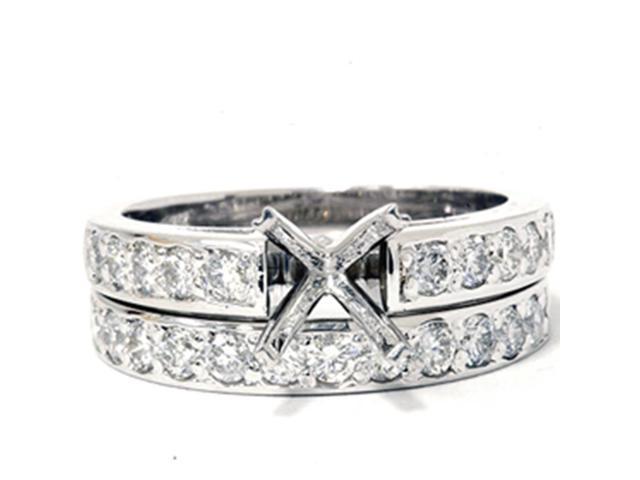 7/8ct Diamond Semi Mount Ring Set 14K White Gold
