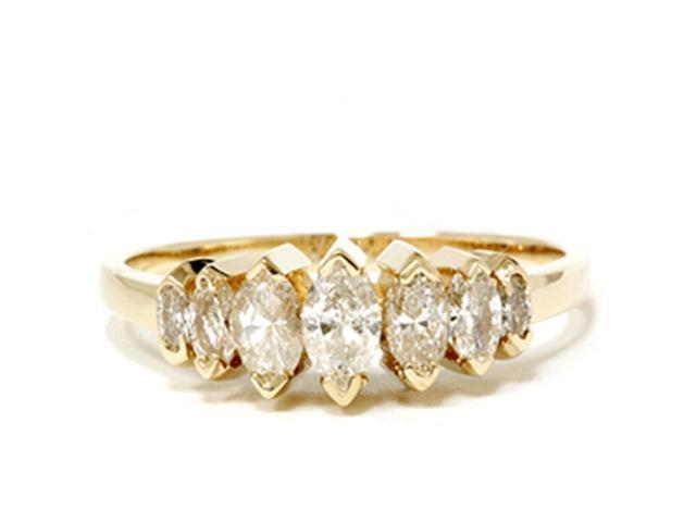 14k Yellow Gold 3/4ct Marquise Diamond Wedding Anniversary Ring Womens Band
