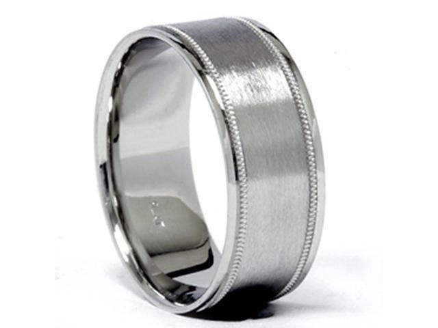 Mens 950 Platinum 8mm Brushed Comfort Fit Band Ring New