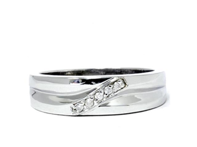 Mens High Polished White Gold Diamond Anniversary Ring