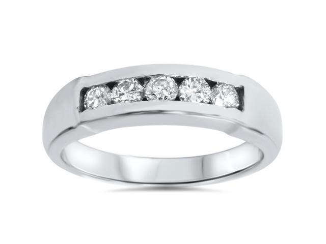 Mens 1/2ct 14K White Gold Round Diamond Wedding Ring