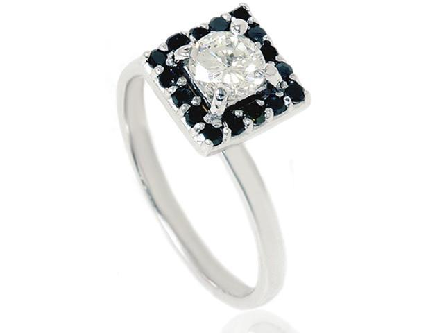 7/8ct Black & White Diamond Halo Ring 14K White Gold
