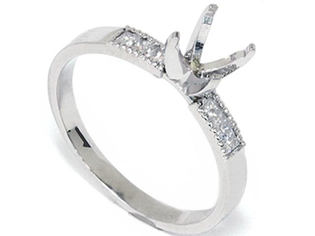 1/4ct PDiamond Engagement Ring Semi Mount with Accent Diamonds 14K White Gold