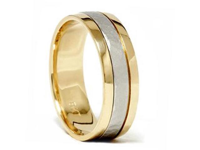 Platinum & 18K Gold Two Tone Hammered Wedding Band Ring