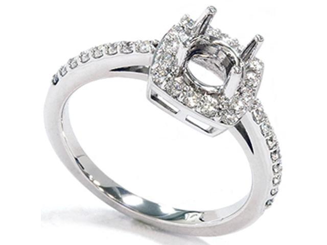 1/3ct Diamond Cushion Halo 14K White Gold Engagement Ring Setting