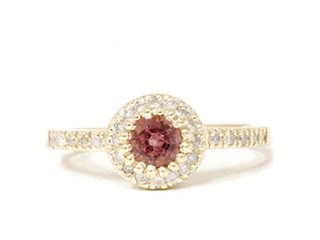 Pink Tourmaline 14K Yellow Gold 3/4ct Pave Halo Diamond Ring Vintage Soliatire