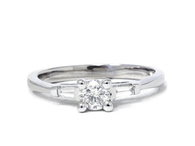 3/8ct Round Baguette 3 Stone Diamond Ring 14K Gold