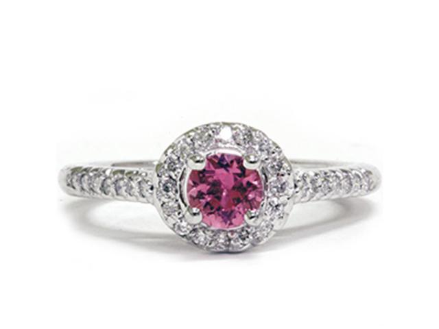 5/8Ct Diamond Halo Treated Pink Sapphire Engagement Ring 14K White Gold
