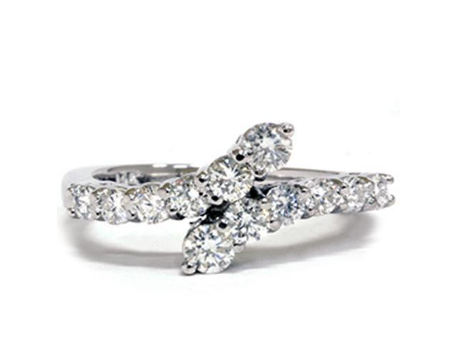 3/4ct Diamond Journey Bypass Right Hand White Gold Ring