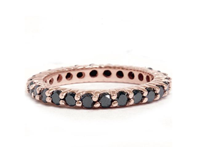 1 1/2CT Womens Stackable Black Diamond Eternity Ring Solid 14K Rose Gold