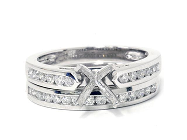 1/2ct Cathedral Diamond Channel Bridal Set Mounitng 14K White Gold