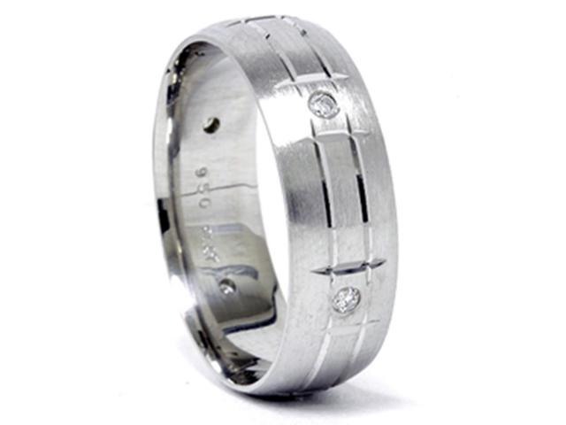 Mens 950 Palladium 7mm Diamond Brushed Wedding Ring