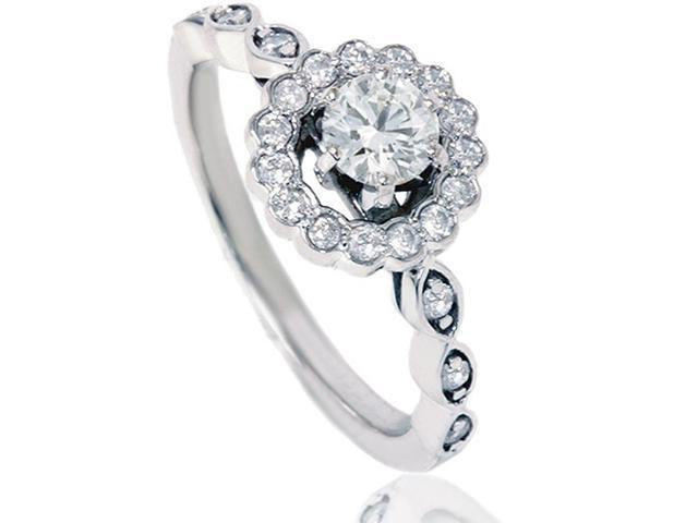 7/8ct Diamond Round Halo Vintage Engagement Ring 14K White Gold