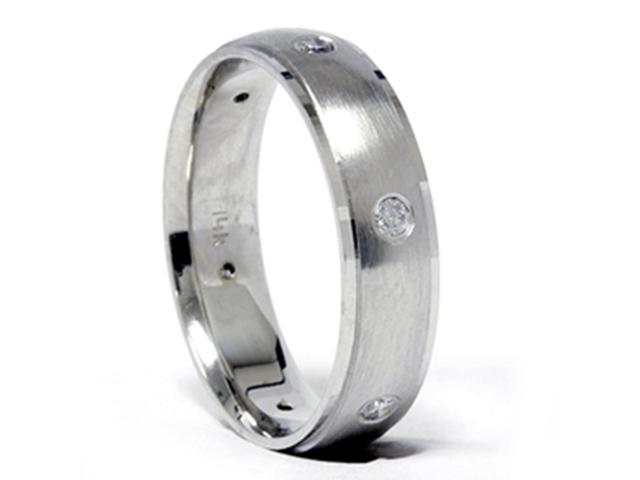 Mens 14k White Gold Beveled Wedding Band Diamond Ring