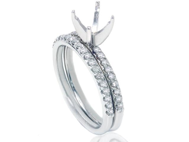 3/8ct Diamond Engagement Ring Set 14K White Gold