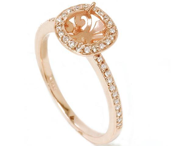 1/3ct Diamond Engagement Halo Ring 14K Rose Gold Setting