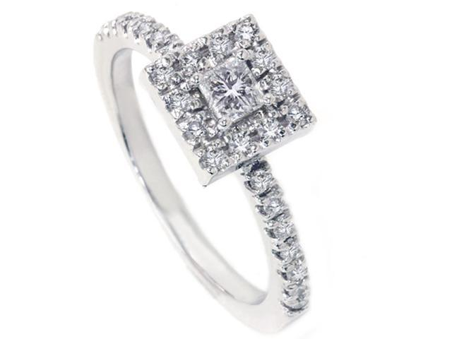 Womens 1/2ct Princess Cut Diamond Engagement Ring 14K White Gold