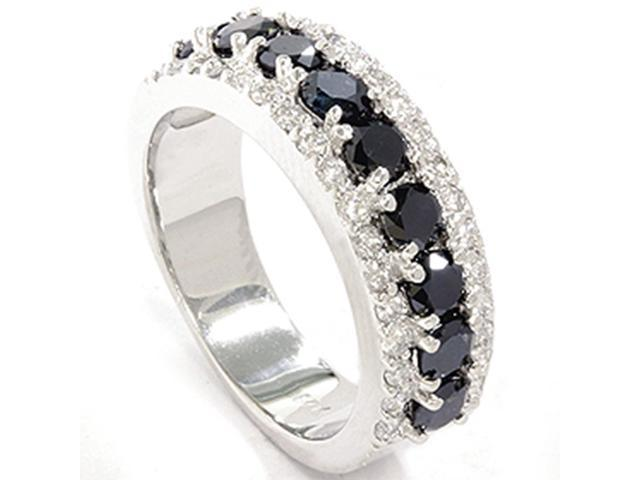 1 5/8ct Treated Black & White Diamond Fancy Womens Wedding Anniversary Ring 14K