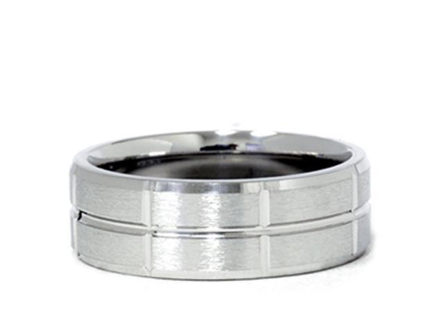 Channel & Beveled Edge Wedding Band 950 Palladium