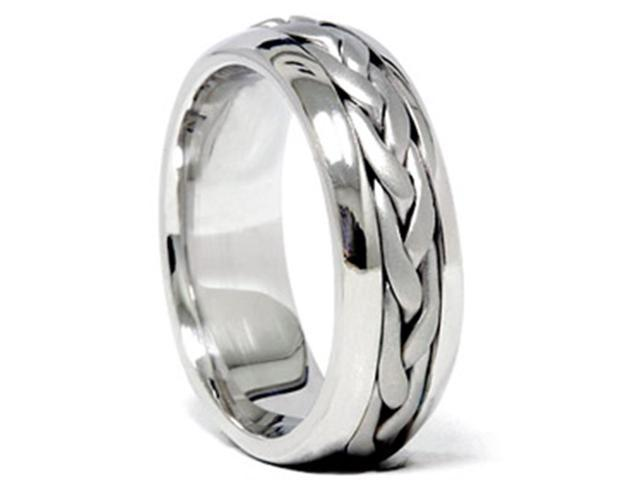 Hand Braided Wedding Band 14K White Gold