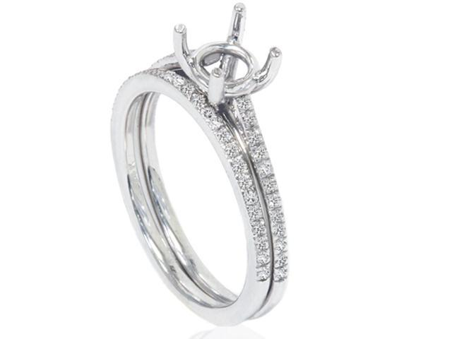 1/5ct Pave Cathedral Diamond Engagement Brialal Ring Set Setting 14K White Gold