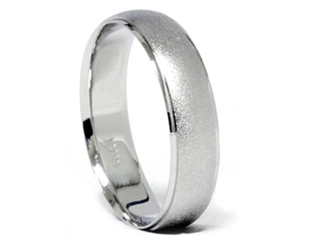 Satin Finish & Polished Edge Wedding Band 14K White Gold