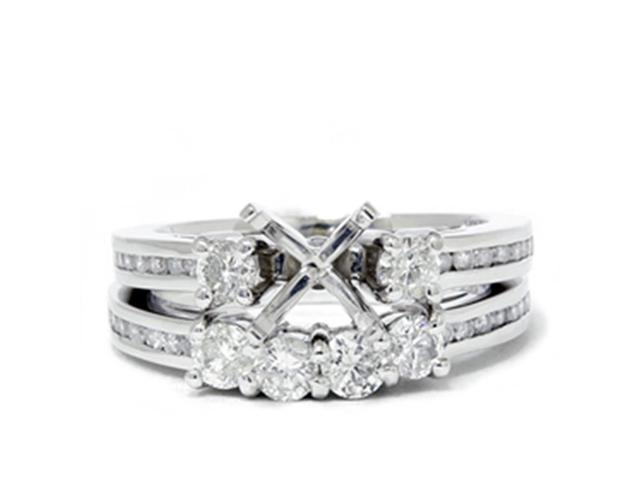 1 1/4ct Diamond Engagement Wedding Ring 14K White Gold Ring Set