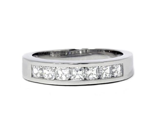 Platinum 1ct Set Asscher Cut Diamond Wedding Ring