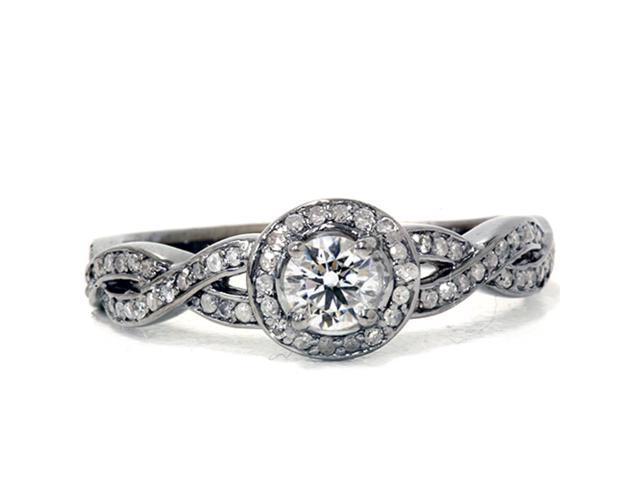 7/8ct Gray & White Diamond Halo vintage Engagement Ring 14K Black Gold