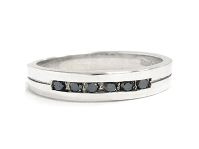 Mens 1/4 CT Treated Black Diamond Wedding Band Ring Solid 14K White Gold